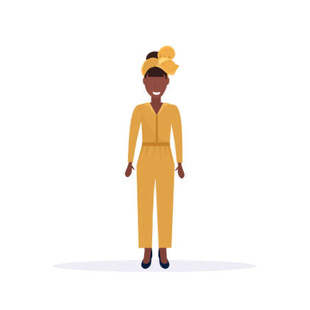 happy casual woman standing pose smiling african american female cartoon character full length flat white background vector illustration