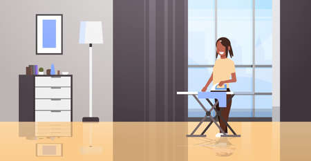 housewife ironing clothes african american woman holding iron smiling girl doing housework concept modern house living room interior female cartoon character full length horizontal flat vector illustration