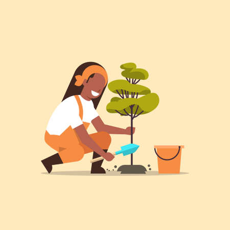 female farmer planting young tree african american gardener woman digging soil working in garden agricultural gardening concept flat full length vector illustration Illustration