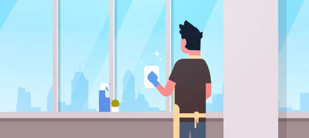 man in gloves and apron cleaning windows with rag cleaner spray rear view guy doing housework concept modern apartment living room interior flat portrait horizontal vector illustration Ilustración de vector