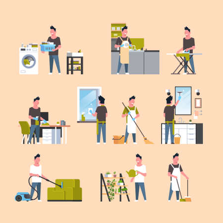 set men doing housework different housecleaning concepts collection male cartoon characters full length flat vector illustration