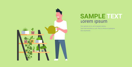 man watering potted plants on rack guy holding sprinkling can doing housework concept male cartoon character full length horizontal copy space vector illustration