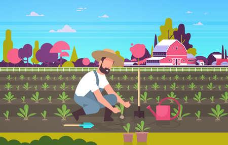 mężczyzna rolnik sadzenie młode sadzonki rośliny warzywa człowiek pracujący w ogrodzie rolnik pracownik eko rolnictwo pojęcie pole uprawne wieś krajobraz płaski pełna długość pozioma ilustracja wektorowa