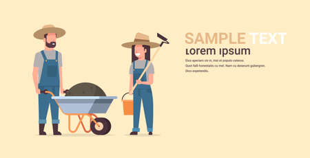 gardener man with wheelbarrow of earth woman holding hoe and bucket couple farmers planting plants flowers and vegetables working in garden gardening concept full length copy space horizontal vector illustration Vettoriali