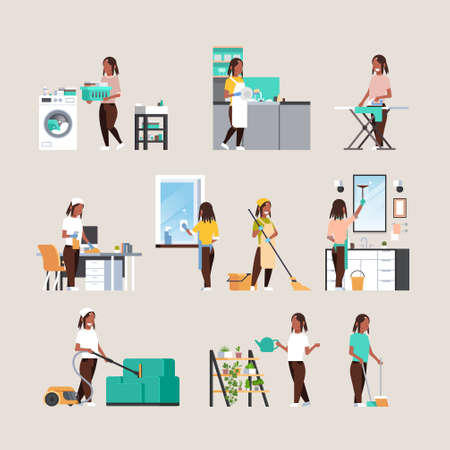 set housewife doing housework different housecleaning concepts collection african american female cartoon characters full length flat vector illustration