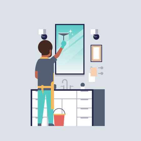 man in gloves and apron cleaning mirror with squeegee african american guy in bathroom doing housework concept rear view male character full length vector illustration