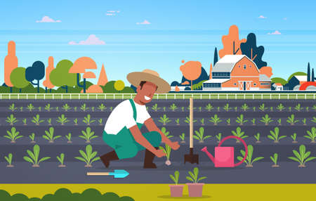 male farmer planting young seedlings plants vegetables african american man working in garden agricultural worker eco farming concept farmland field countryside landscape full length horizontal vector illustration