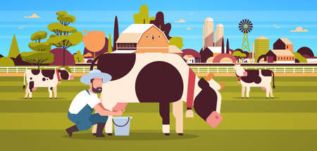 male farmer milking cow in bucket farm domestic animal cattle fresh milk concept flat horizontal farmland barn countryside landscape flat full length horizontal vector illustration Illustration