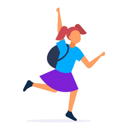 teenager girl running to catch public transport hurry up late concept female student waving hand gesture white background full length vector illustration