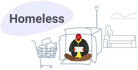 Armer Mann, der aus Karton sitzt und um Hilfe bettelt Bettler, der leeres Schild hält Obdachlose Konzeptskizze Doodle horizontale Vektorillustration in voller Länge