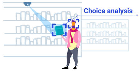 man customer identification facial recognition choice analysis concept guy choosing accesories modern fashion boutique interior security camera surveillance cctv system sketch doodle horizontal vector illustration