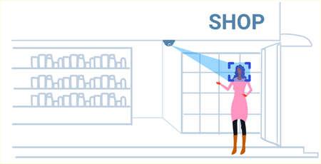 woman customer identification facial recognition concept girl choosing accesories modern fashion boutique interior security camera surveillance cctv system sketch doodle horizontal vector illustration Illustration