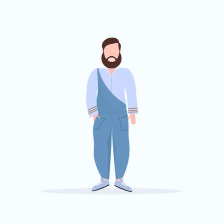 happy casual man standing pose smiling guy wearing trendy clothes male cartoon character full length flat white background vector illustration