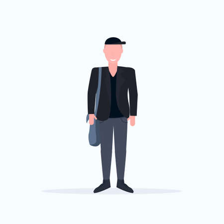 happy casual man standing pose smiling guy wearing trendy formal clothes holding handbag male cartoon character full length flat white background vector illustration
