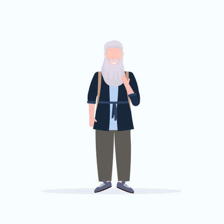 casual mature man standing pose smiling senior gray hair person wearing trendy clothes male cartoon character full length flat white background vector illustration