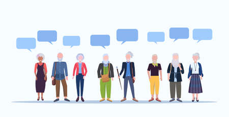 mature men women standing together chat bubble communication smiling senior gray haired mix race people wearing trendy clothes male female cartoon characters full length horizontal vector illustration Ilustração Vetorial