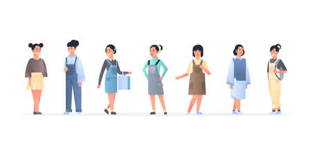 young asian women group wearing casual clothes happy attractive girls standing together chinese or japanese female cartoon characters full length flat horizontal vector illustration