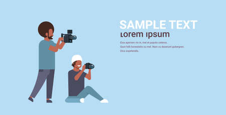 photographer and cameraman using cameras shooting video taking pictures working together teamwork during studio session horizontal full length flat copy space vector illustration