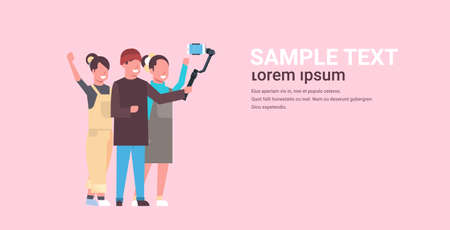 casual people using 3-axis gimbal stabilizer selfie stick for smartphone happy man and two women standing together taking photo on smart phone camera horizontal full length vector illustration