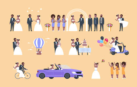 set just married man woman standing together different concepts collection african american couple bride and groom in love wedding day celebration full length horizontal flat vector illustration