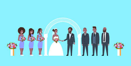 just married bride and groom with african american bridesmaids groomsmen standing together near arch wedding ceremony concept blue background full length horizontal flat vector illustration