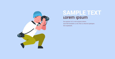 man professional photographer taking photo guy journalists or paparazzi taking photos using dslr camera horizontal full length flat copy space vector illustration Illustration