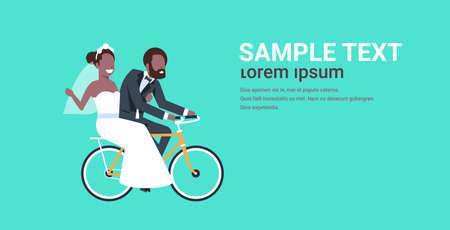 just married african american couple riding bicycle bride and groom cycling bike having fun wedding day concept copy space full length horizontal flat vector illustration