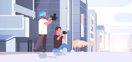 photographer and cameraman using cameras shooting video taking pictures working together over modern city buildings exterior cityscape background horizontal full length flat vector illustration