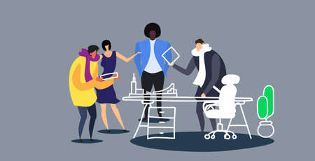 mix race businesspeople discussing during training conference meeting men women creative team project discussion concept sketch doodle horizontal vector illustration