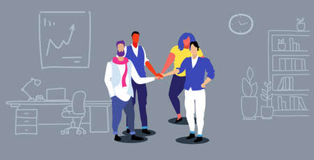 businesspeople group collaborating holding pile hands team spirit concept business people standing together teamwork modern office interior sketch doodle horizontal full length vector illustration