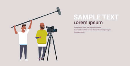operators using video camera on tripod holding microphone african american men working with professional equipment recording movie making film production concept horizontal copy space vector illustration Vektorové ilustrace