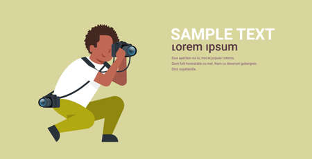 man professional photographer taking photo african american guy journalists or paparazzi taking photos using dslr camera horizontal full length flat copy space vector illustration Standard-Bild - 123249518