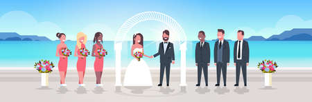 just married bride and groom with bridesmaids groomsmen standing together on sea beach near arch wedding ceremony concept sunrise mountains background full length horizontal vector illustration Illustration