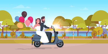 just married couple riding motor scooter with colorful balloons bride and groom having fun wedding day concept city urban park landscape background full length horizontal flat vector illustration