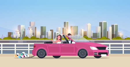 just married bridegroom and bride on road trip driving convertible car romantic couple man woman in love wedding day concept modern urban city buildings cityscape background horizontal flat vector illustration