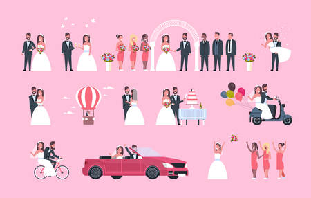 set just married man woman standing together different concepts collection romantic couple bride and groom in love wedding day celebration full length horizontal flat vector illustration Illustration