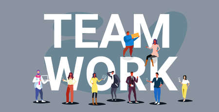 businesspeople team working together with big word teamwork concept men women creative team project discussion sketch doodle horizontal vector illustration