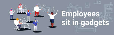 unsatisfied fat woman boss screaming on employees sitting in gadgets bad job concept angry employer shouting workers modern workspace office interior sketch horizontal vector illustration