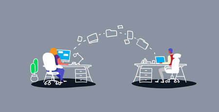 man woman transferring data folders sharing work files colleagues sitting at workplace using cloud network system file transfer concept workspace co-working center sketch doodle horizontal vector illustration
