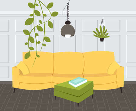 contemporary living room interior empty no people home modern apartment design flat horizontal vector illustration