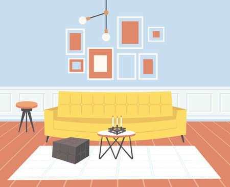 contemporary living room interior empty no people home modern apartment design flat horizontal vector illustration