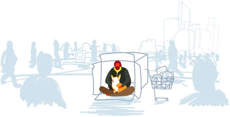 poor man sitting with dog begging for help out from crowd beggar guy embracing animal best friend homeless concept horizontal full length sketch doodle vector illustration