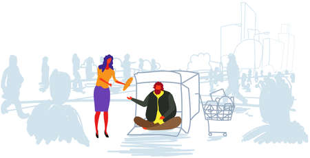 girl giving food to poor man sitting in cardboard box on street out from crowd begging for help beggar homeless feeding concept horizontal sketch doodle vector illustration