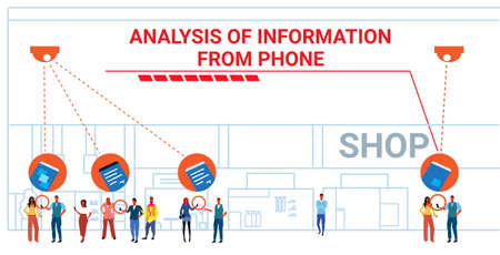 retail store visitors using smartphones security camera surveillance cctv system analysis information from phone concept modern shopping mall interior horizontal sketch doodle full length vector illustration