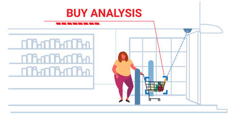 obese fat woman customer pushing trolley cart security camera analyzing groceries surveillance cctv system buy analysis concept modern grocery store exterior horizontal sketch doodle full length vector illustration Illustration