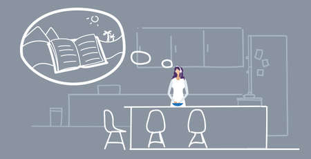 woman preparing food young girl listening audio book through headphones during cooking on modern kitchen interior female character portrait sketch doodle horizontal vector illustration