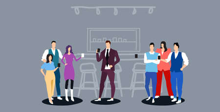 people group having break drinking and discussing together coffee point concept businesspeople holding hot drinks modern cafe interior full length sketch horizontal vector illustration