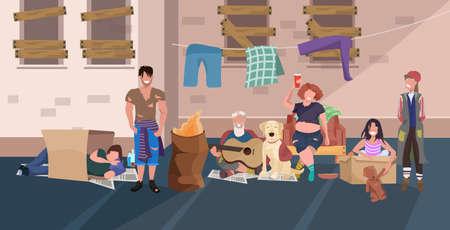 Mendigos grupo de personas relajante acostado y durmiendo juntos en la calle sin hogar concepto de desempleo ilustración vectorial horizontal de longitud completa