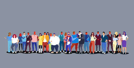 group of people standing together diverse men women businesspeople big crowd full length horizontal vector illustration