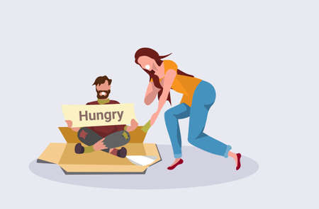 girl giving money to poor man sitting on cardboard begging for help beggar holding sign board homeless concept horizontal flat vector illustration Stock Illustratie